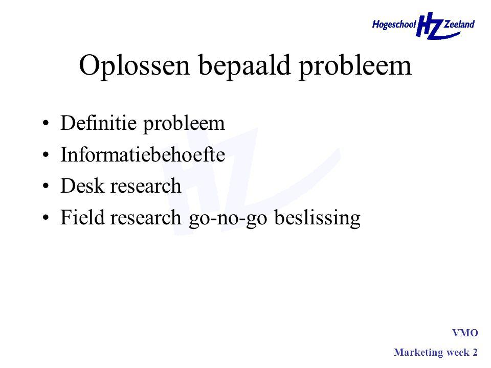 Oplossen bepaald probleem Definitie probleem Informatiebehoefte Desk research Field research go-no-go beslissing VMO Marketing week 2