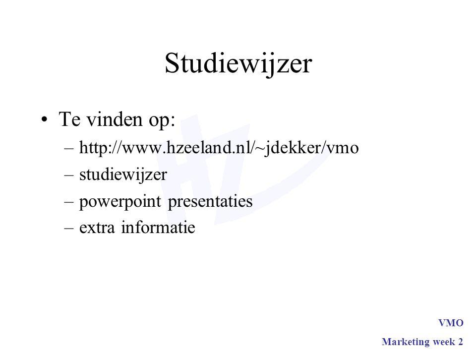Studiewijzer Te vinden op: –http://www.hzeeland.nl/~jdekker/vmo –studiewijzer –powerpoint presentaties –extra informatie VMO Marketing week 2