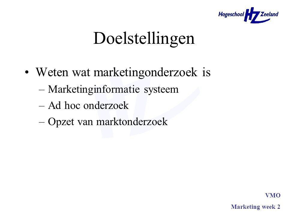 Doelstellingen Weten wat marketingonderzoek is –Marketinginformatie systeem –Ad hoc onderzoek –Opzet van marktonderzoek VMO Marketing week 2