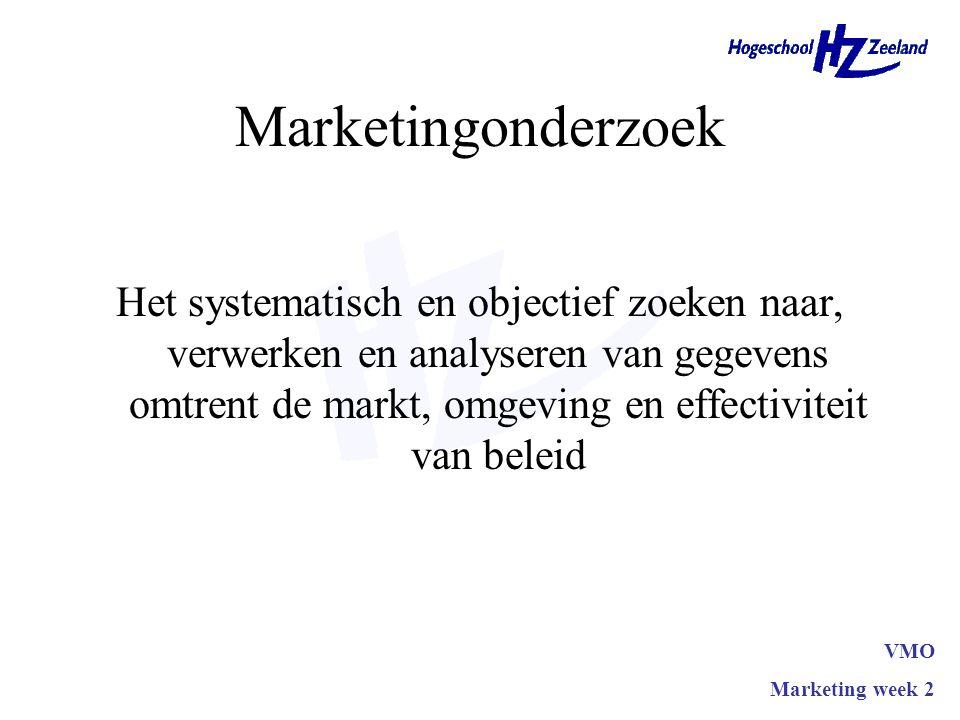 Marketingonderzoek Het systematisch en objectief zoeken naar, verwerken en analyseren van gegevens omtrent de markt, omgeving en effectiviteit van bel