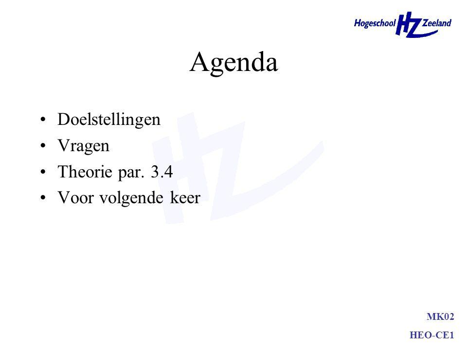 Agenda Doelstellingen Vragen Theorie par. 3.4 Voor volgende keer MK02 HEO-CE1