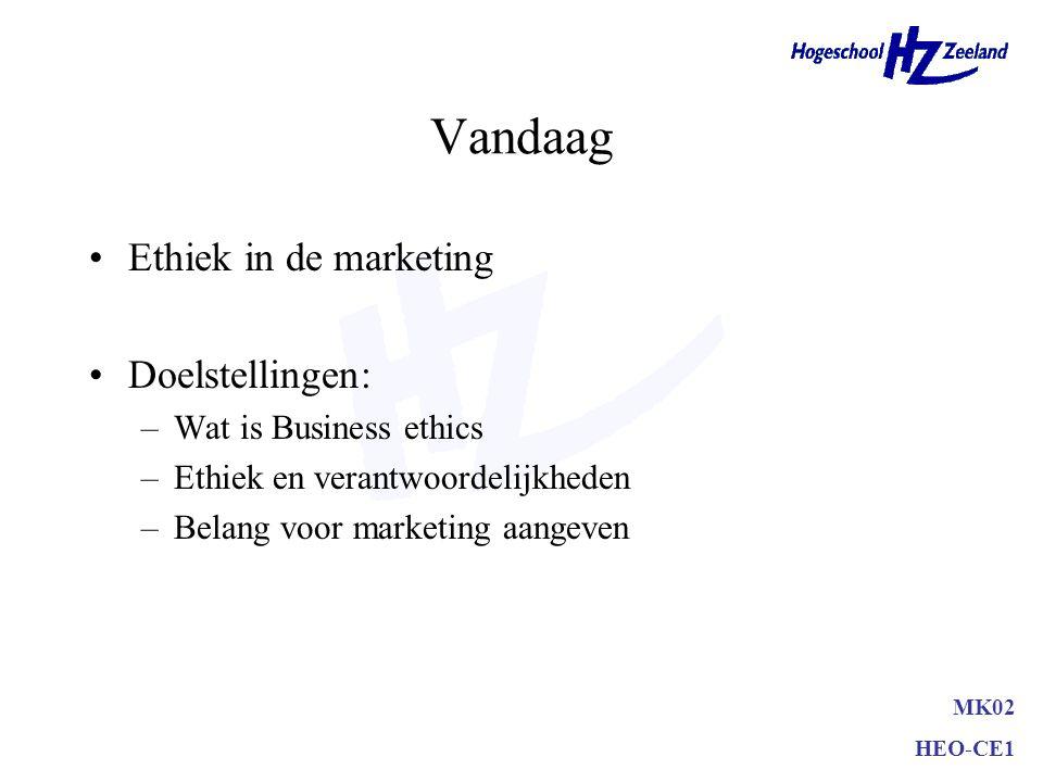 Vandaag Ethiek in de marketing Doelstellingen: –Wat is Business ethics –Ethiek en verantwoordelijkheden –Belang voor marketing aangeven MK02 HEO-CE1
