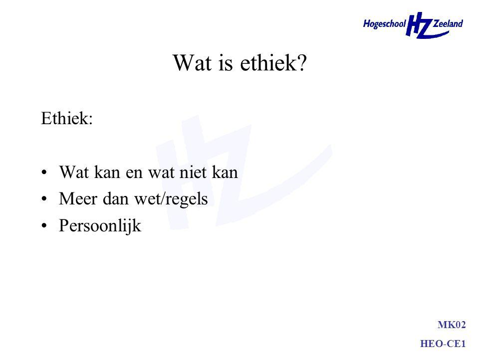 Wat is ethiek? Ethiek: Wat kan en wat niet kan Meer dan wet/regels Persoonlijk MK02 HEO-CE1