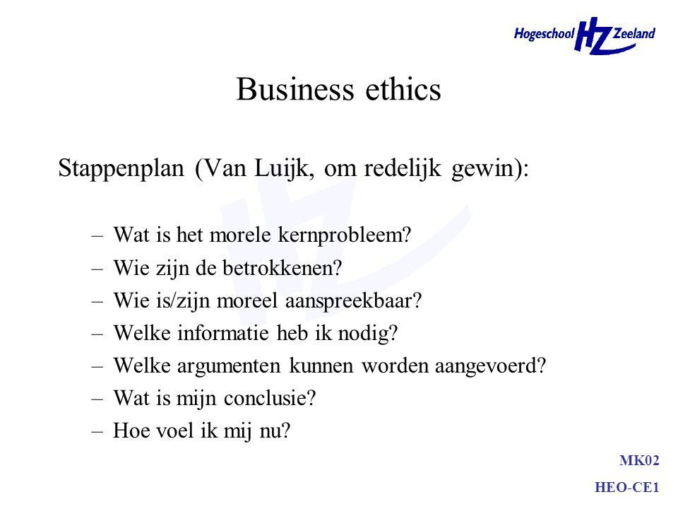 Business ethics Stappenplan (Van Luijk, om redelijk gewin): –Wat is het morele kernprobleem.
