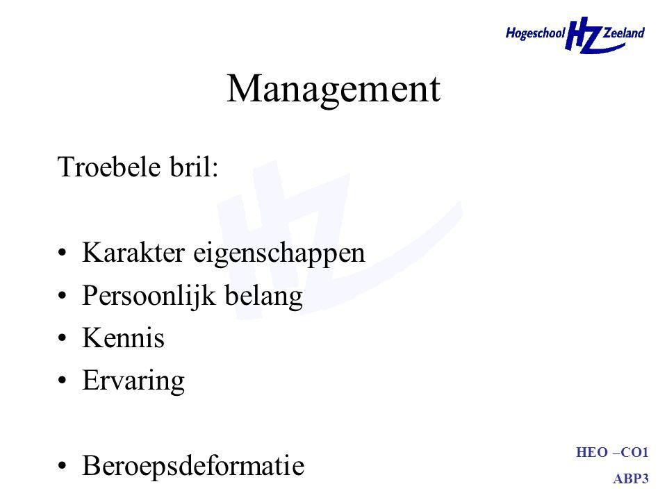 HEO –CO1 ABP3 Management Troebele bril: Karakter eigenschappen Persoonlijk belang Kennis Ervaring Beroepsdeformatie
