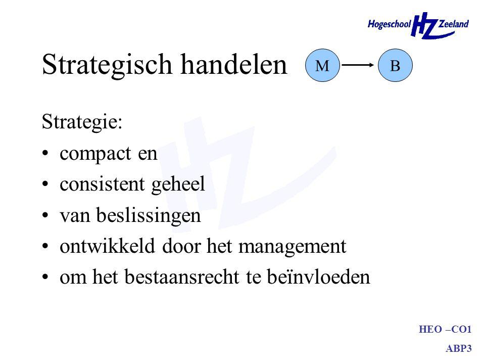 HEO –CO1 ABP3 Strategisch handelen Strategie: compact en consistent geheel van beslissingen ontwikkeld door het management om het bestaansrecht te beïnvloeden MB