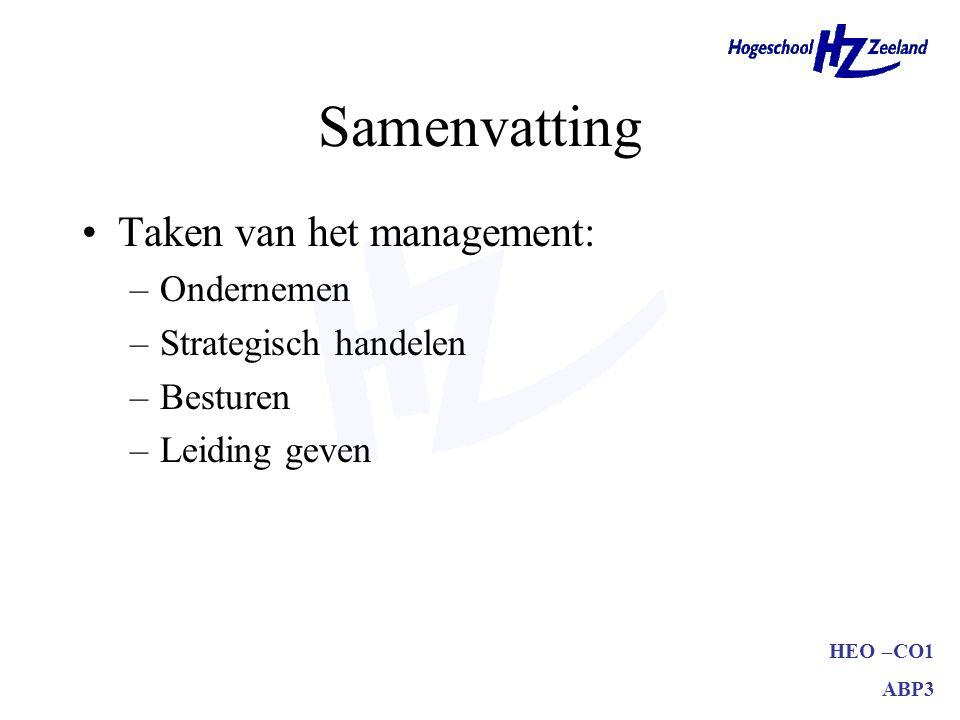 HEO –CO1 ABP3 Samenvatting Taken van het management: –Ondernemen –Strategisch handelen –Besturen –Leiding geven