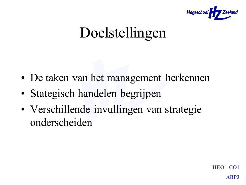 HEO –CO1 ABP3 Doelstellingen De taken van het management herkennen Stategisch handelen begrijpen Verschillende invullingen van strategie onderscheiden