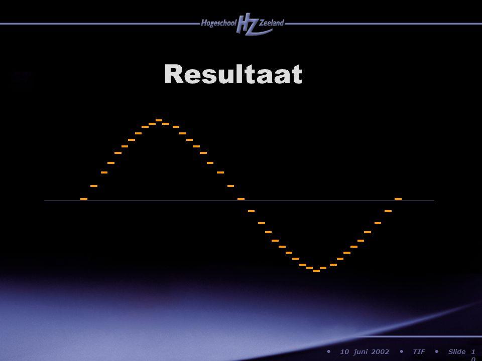 10 juni 2002 TIF Slide Resultaat 10