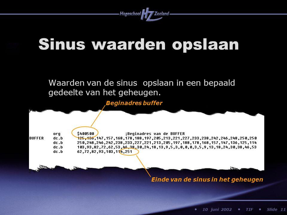 10 juni 2002 TIF Slide Sinus waarden opslaan Waarden van de sinus opslaan in een bepaald gedeelte van het geheugen. 11 Beginadres buffer Einde van de