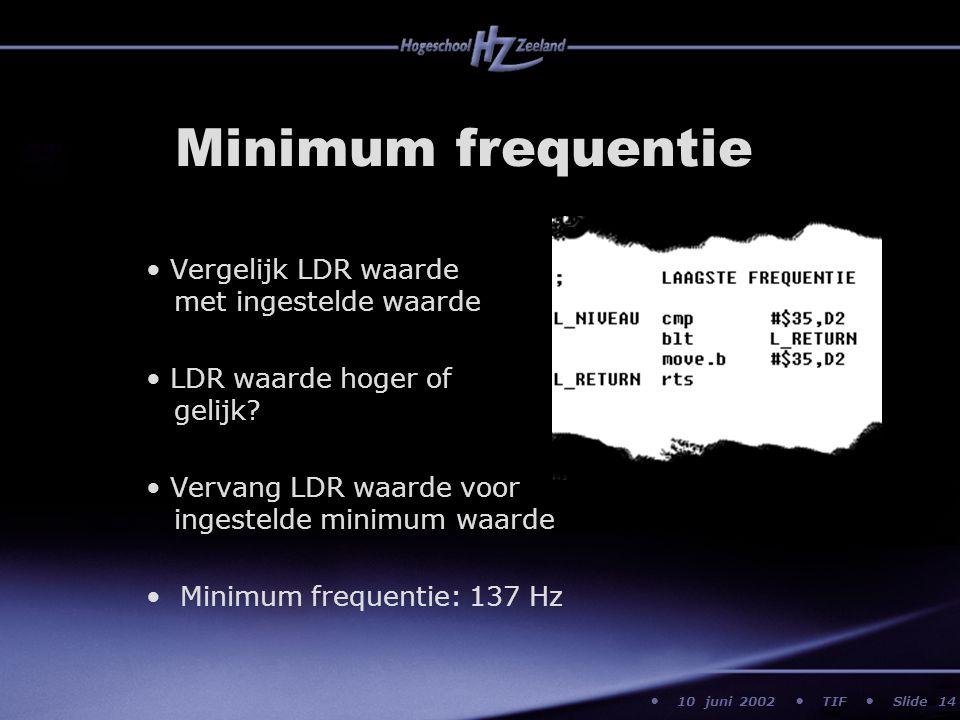 10 juni 2002 TIF Slide Minimum frequentie Vergelijk LDR waarde met ingestelde waarde LDR waarde hoger of gelijk? Vervang LDR waarde voor ingestelde mi