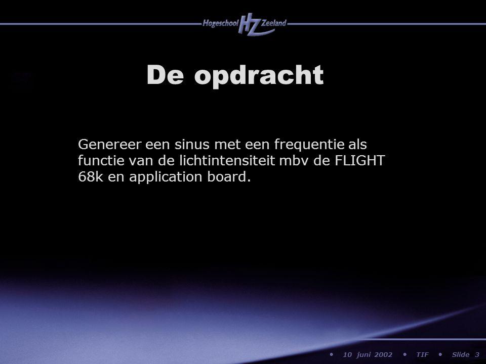 10 juni 2002 TIF Slide De opdracht Genereer een sinus met een frequentie als functie van de lichtintensiteit mbv de FLIGHT 68k en application board. 3