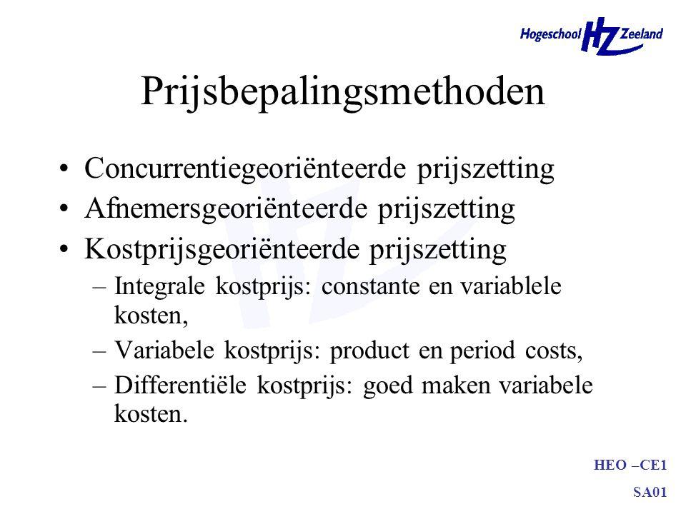 HEO –CE1 SA01 Prijsbepalingsmethoden Concurrentiegeoriënteerde prijszetting Afnemersgeoriënteerde prijszetting Kostprijsgeoriënteerde prijszetting –In