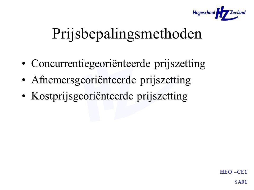 HEO –CE1 SA01 Prijsbepalingsmethoden Concurrentiegeoriënteerde prijszetting Afnemersgeoriënteerde prijszetting Kostprijsgeoriënteerde prijszetting