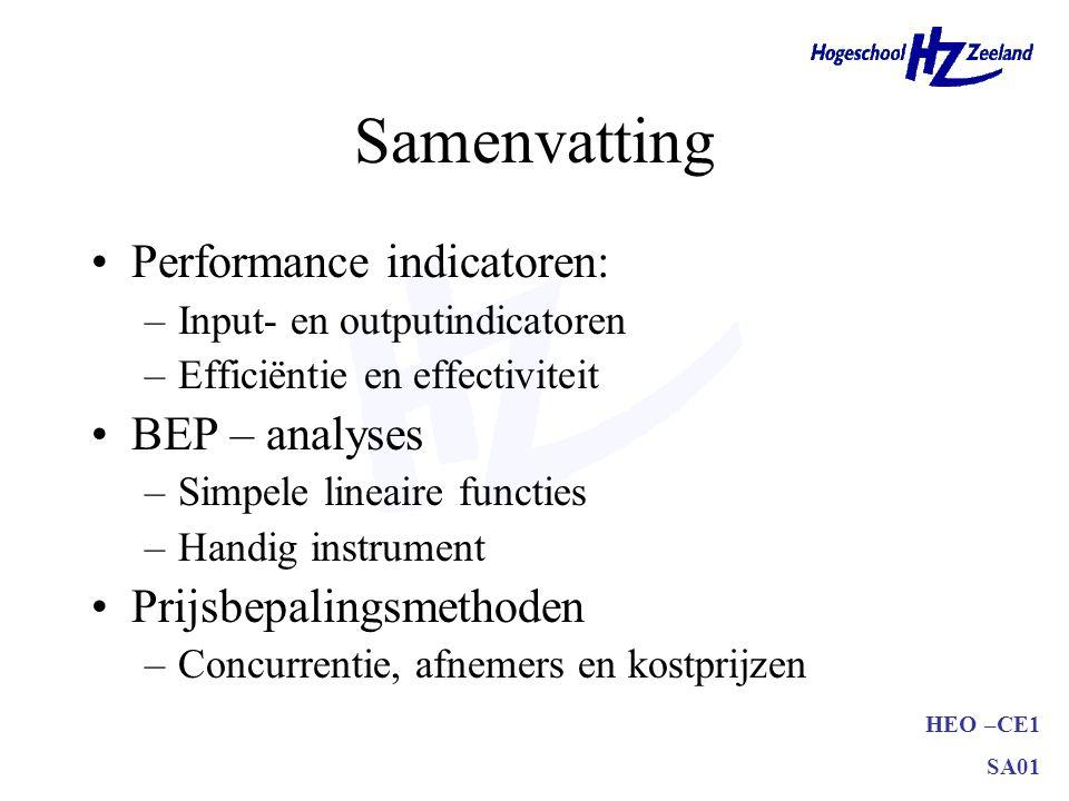 HEO –CE1 SA01 Samenvatting Performance indicatoren: –Input- en outputindicatoren –Efficiëntie en effectiviteit BEP – analyses –Simpele lineaire functi