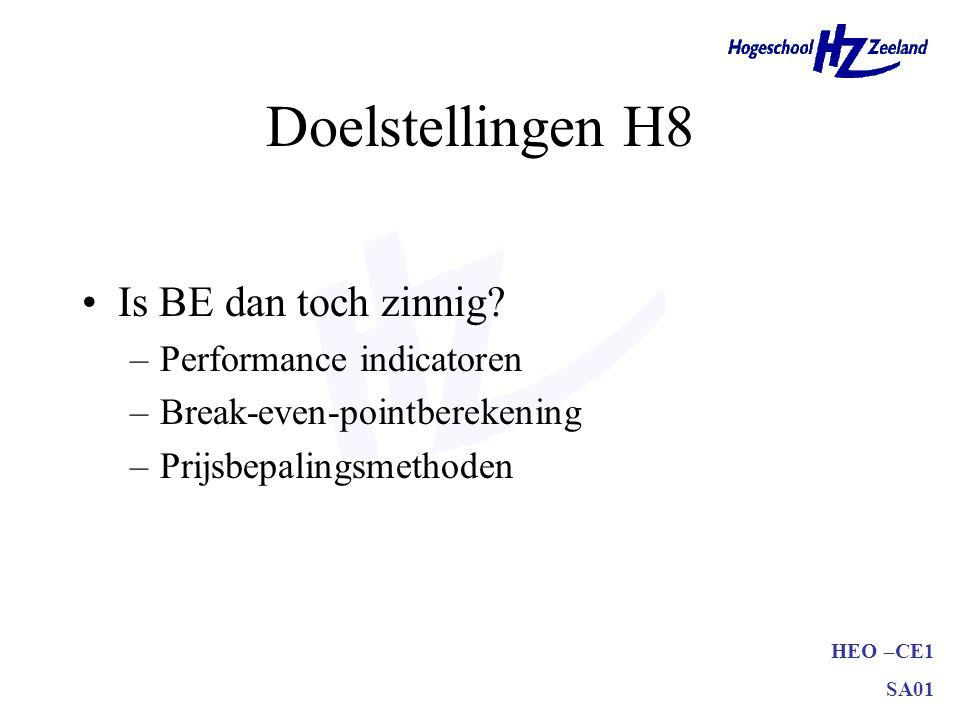 HEO –CE1 SA01 Doelstellingen H8 Is BE dan toch zinnig? –Performance indicatoren –Break-even-pointberekening –Prijsbepalingsmethoden