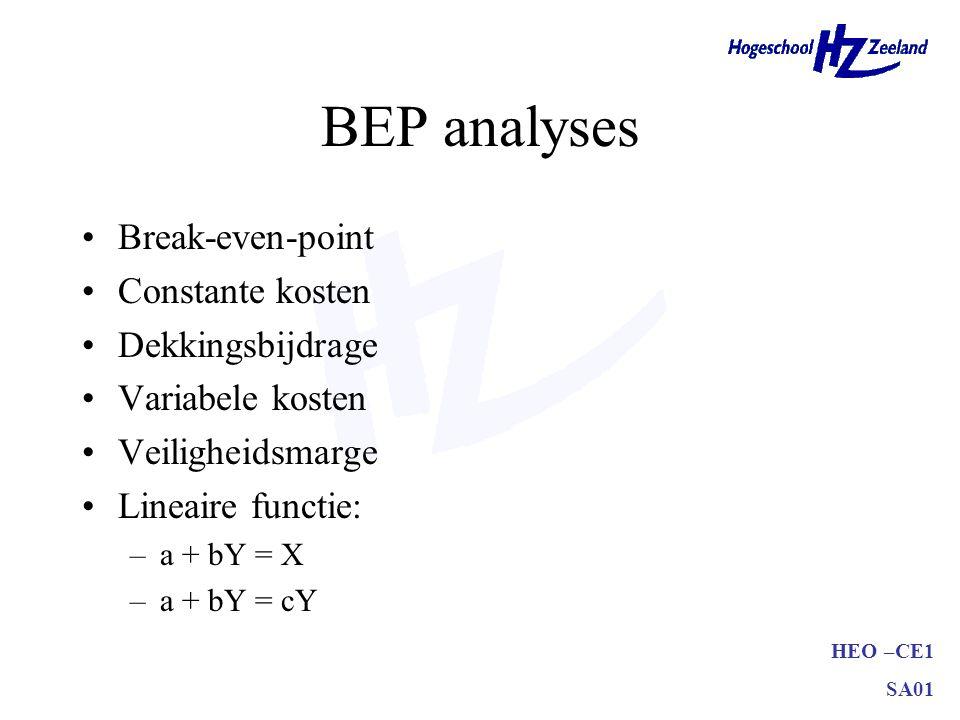 HEO –CE1 SA01 BEP analyses Break-even-point Constante kosten Dekkingsbijdrage Variabele kosten Veiligheidsmarge Lineaire functie: –a + bY = X –a + bY
