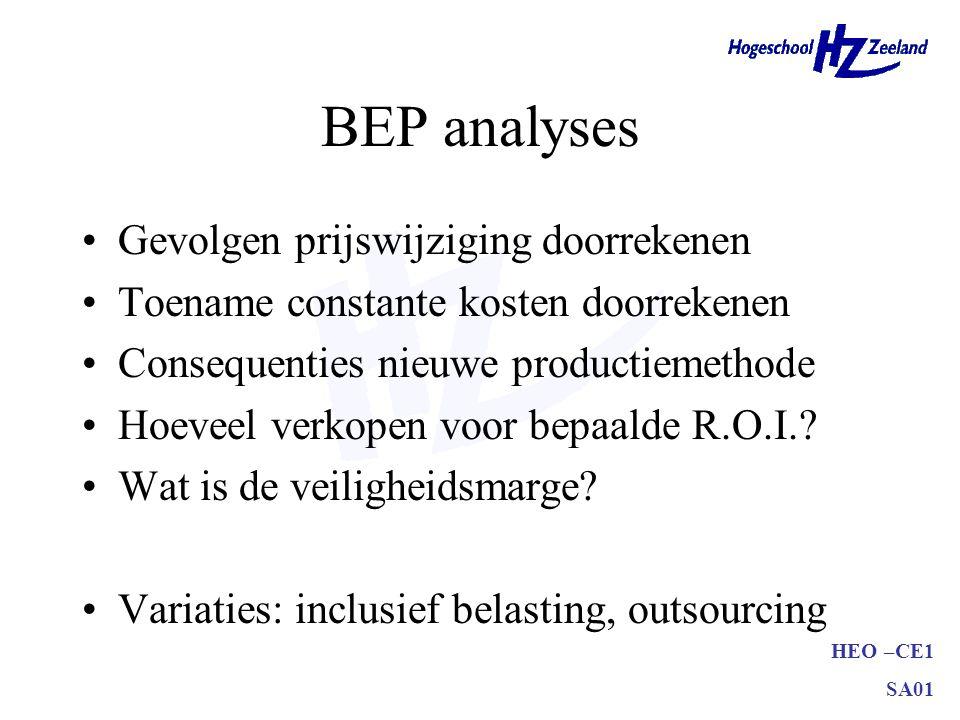 HEO –CE1 SA01 BEP analyses Gevolgen prijswijziging doorrekenen Toename constante kosten doorrekenen Consequenties nieuwe productiemethode Hoeveel verk