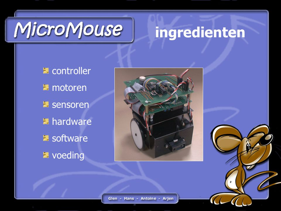 ingredienten controller motoren sensoren hardware software voeding