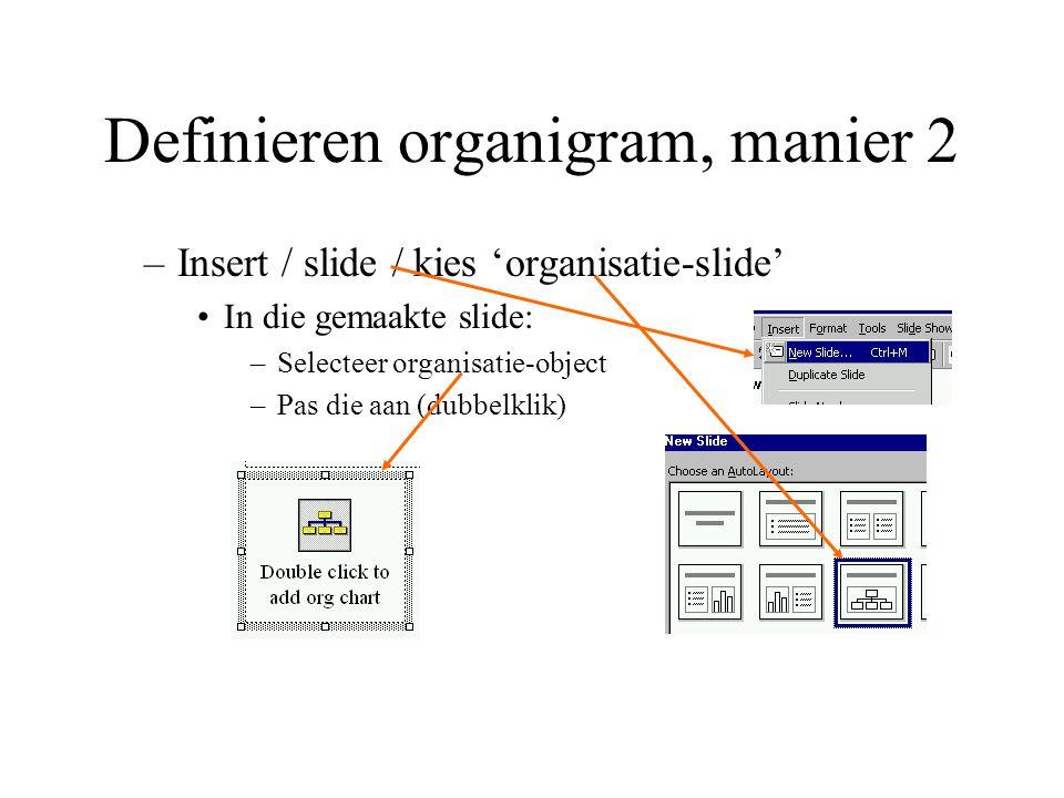 Definieren organigram, manier 2 –Insert / slide / kies 'organisatie-slide' In die gemaakte slide: –Selecteer organisatie-object –Pas die aan (dubbelkl