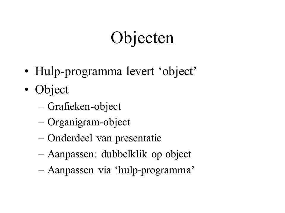 Objecten Hulp-programma levert 'object' Object –Grafieken-object –Organigram-object –Onderdeel van presentatie –Aanpassen: dubbelklik op object –Aanpa