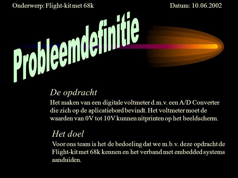 Onderwerp: Flight-kit met 68k Datum: 10.06.2002 Het maken van een digitale voltmeter d.m.v.