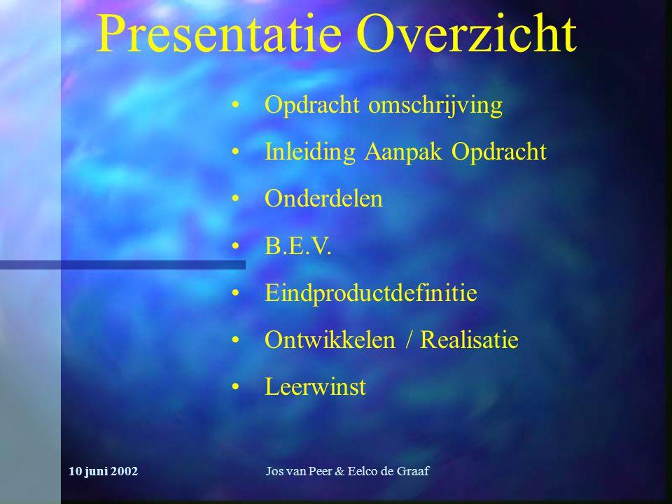 10 juni 2002Jos van Peer & Eelco de Graaf Presentatie Overzicht Opdracht omschrijving Inleiding Aanpak Opdracht Onderdelen B.E.V.