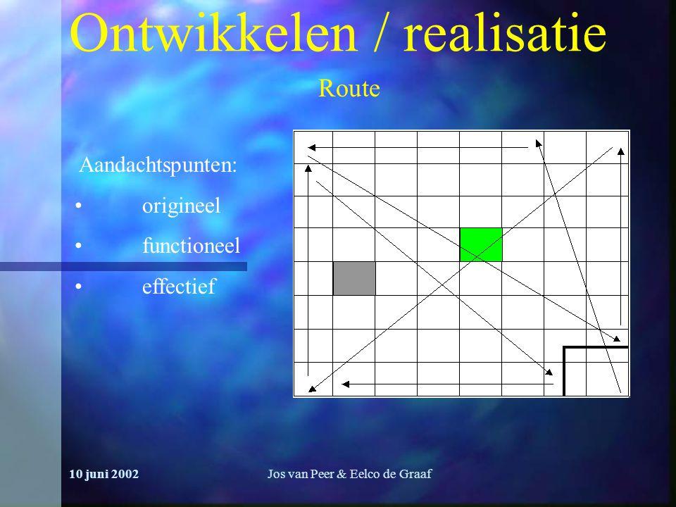 10 juni 2002Jos van Peer & Eelco de Graaf Ontwikkelen / realisatie Route Aandachtspunten: origineel functioneel effectief