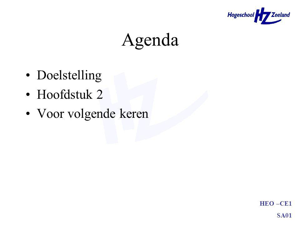 HEO –CE1 SA01 Agenda Doelstelling Hoofdstuk 2 Voor volgende keren
