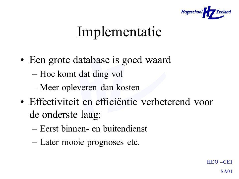 HEO –CE1 SA01 Implementatie Een grote database is goed waard –Hoe komt dat ding vol –Meer opleveren dan kosten Effectiviteit en efficiëntie verbeterend voor de onderste laag: –Eerst binnen- en buitendienst –Later mooie prognoses etc.