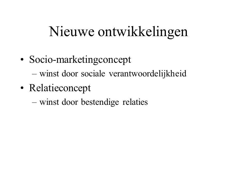 Nieuwe ontwikkelingen Socio-marketingconcept –winst door sociale verantwoordelijkheid Relatieconcept –winst door bestendige relaties