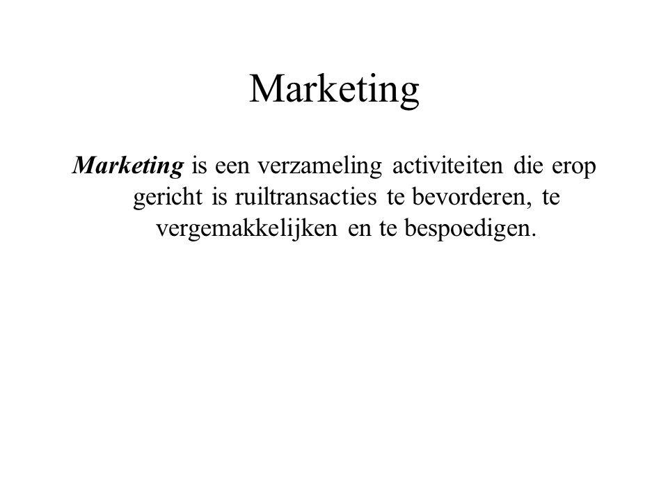 Marketing Marketing is een verzameling activiteiten die erop gericht is ruiltransacties te bevorderen, te vergemakkelijken en te bespoedigen.