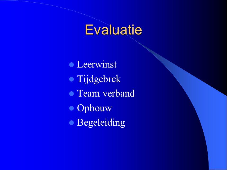 Evaluatie Leerwinst Tijdgebrek Team verband Opbouw Begeleiding
