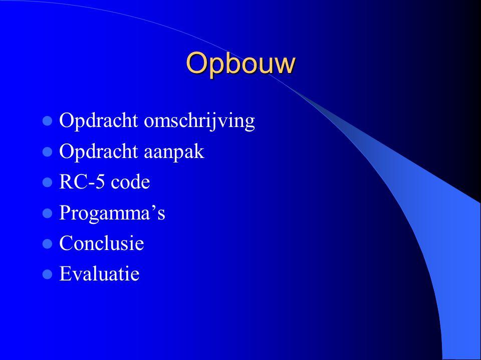 Opbouw Opdracht omschrijving Opdracht aanpak RC-5 code Progamma's Conclusie Evaluatie