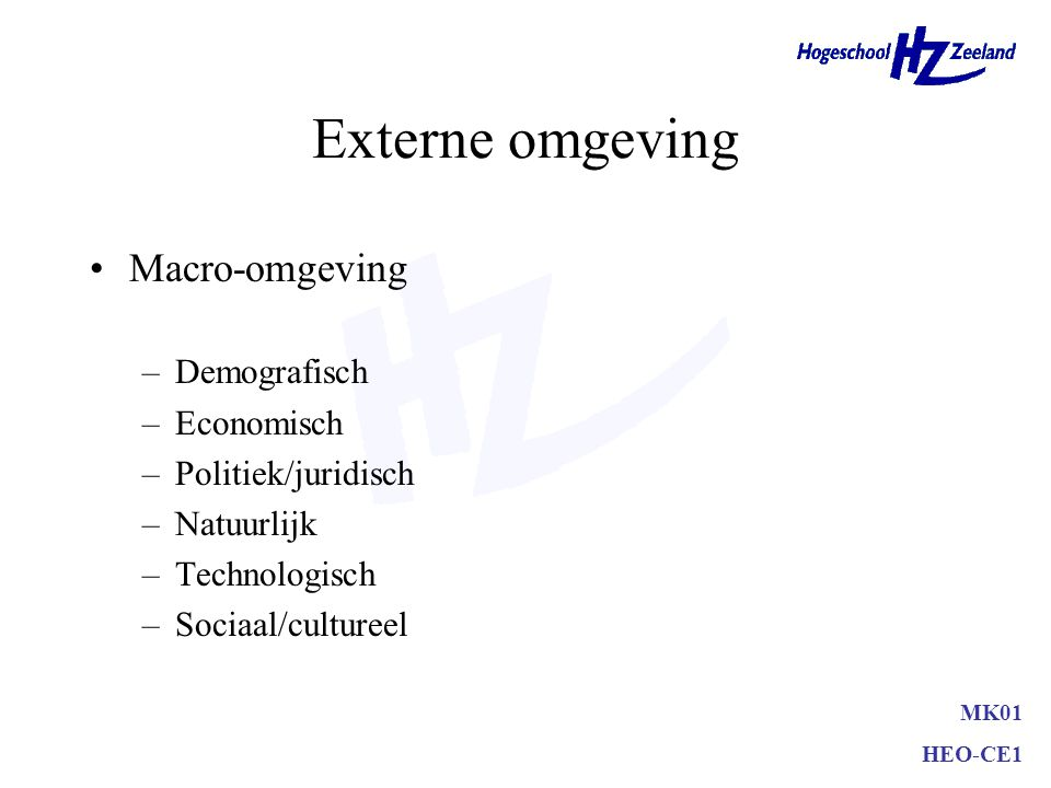 Externe omgeving Meso-omgeving –Bedrijfskolom –Afnemers –Toeleveranciers –Intermediairs –Concurrenten –Publieksgroepen MK01 HEO-CE1
