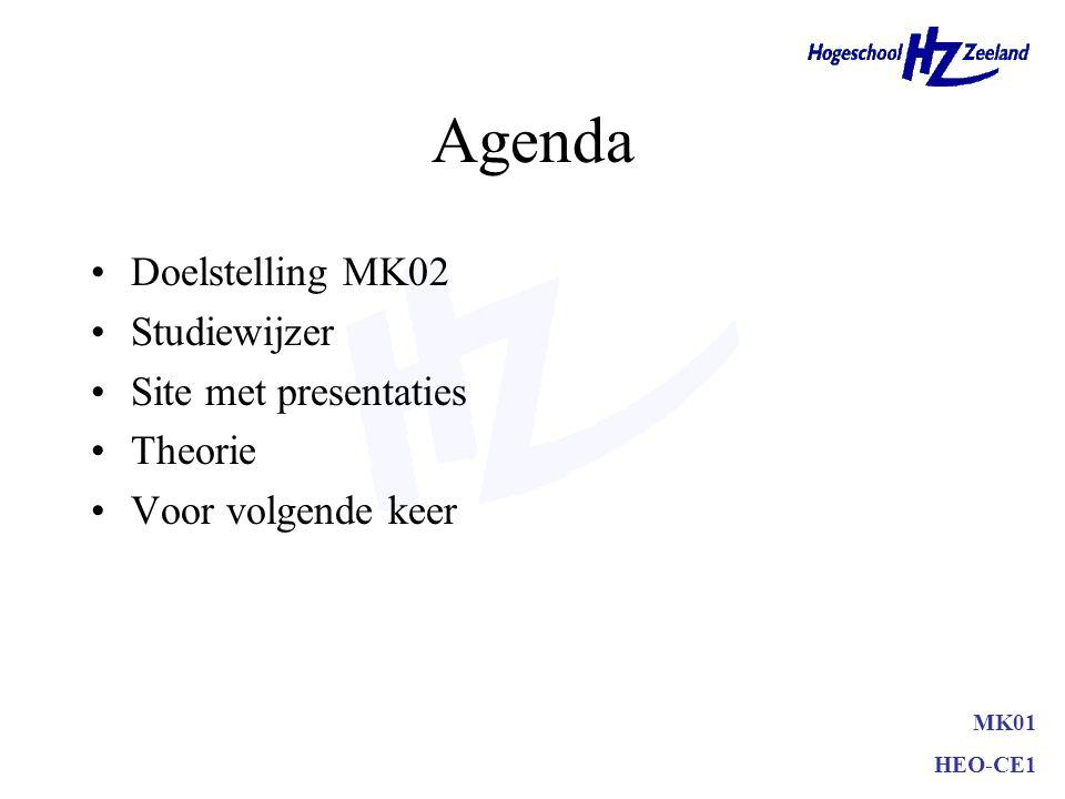 Agenda Doelstelling MK02 Studiewijzer Site met presentaties Theorie Voor volgende keer MK01 HEO-CE1