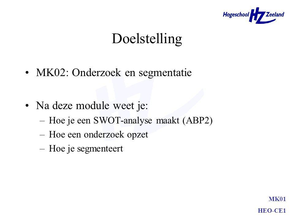 Doelstelling MK02: Onderzoek en segmentatie Na deze module weet je: –Hoe je een SWOT-analyse maakt (ABP2) –Hoe een onderzoek opzet –Hoe je segmenteert MK01 HEO-CE1