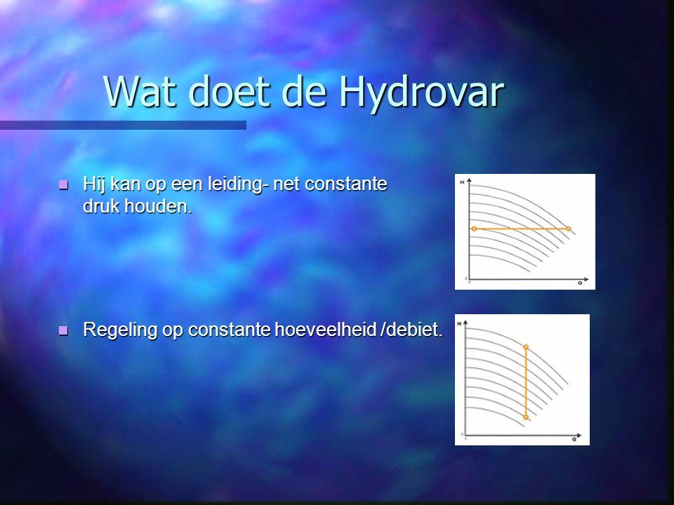 Wat doet de Hydrovar Hij kan op een leiding- net constante druk houden. Hij kan op een leiding- net constante druk houden. Regeling op constante hoeve