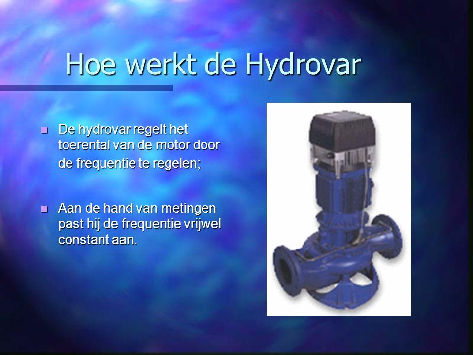 Hoe werkt de Hydrovar De hydrovar regelt het toerental van de motor door de frequentie te regelen; De hydrovar regelt het toerental van de motor door de frequentie te regelen; Aan de hand van metingen past hij de frequentie vrijwel constant aan.