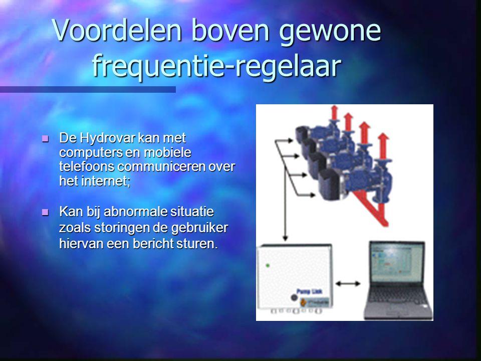 Voordelen boven gewone frequentie-regelaar De Hydrovar kan met computers en mobiele telefoons communiceren over het internet; De Hydrovar kan met comp