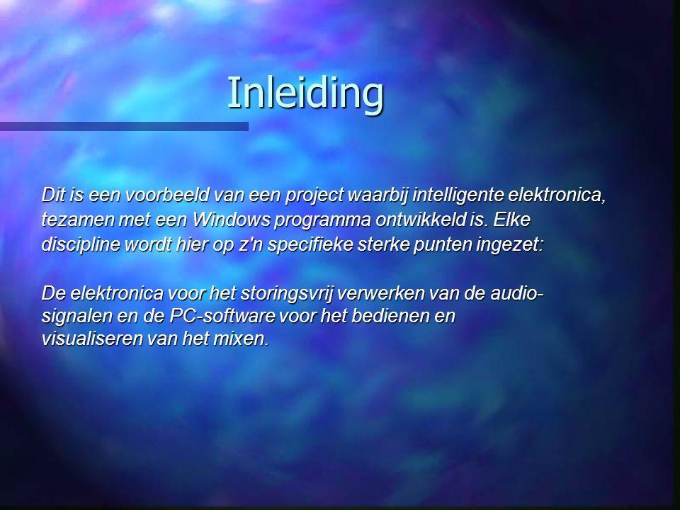 Inleiding Dit is een voorbeeld van een project waarbij intelligente elektronica, tezamen met een Windows programma ontwikkeld is. Elke discipline word