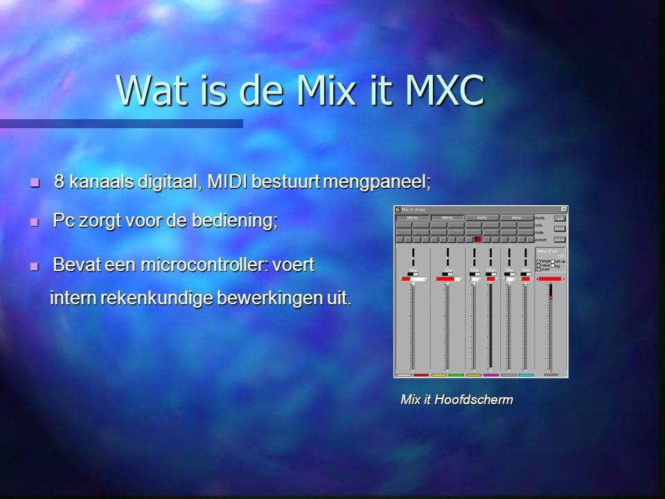 Wat is de Mix it MXC 8 kanaals digitaal, MIDI bestuurt mengpaneel; 8 kanaals digitaal, MIDI bestuurt mengpaneel; Pc zorgt voor de bediening; Pc zorgt voor de bediening; Bevat een microcontroller: voert Bevat een microcontroller: voert intern rekenkundige bewerkingen uit.