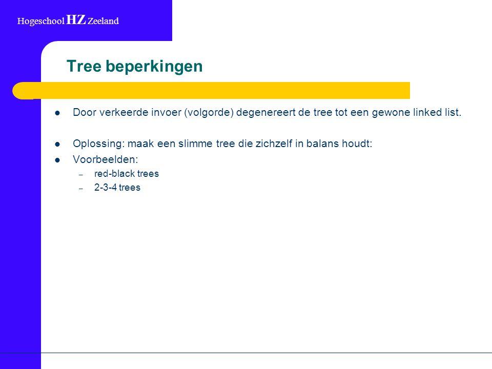 Hogeschool HZ Zeeland Tree beperkingen Door verkeerde invoer (volgorde) degenereert de tree tot een gewone linked list.
