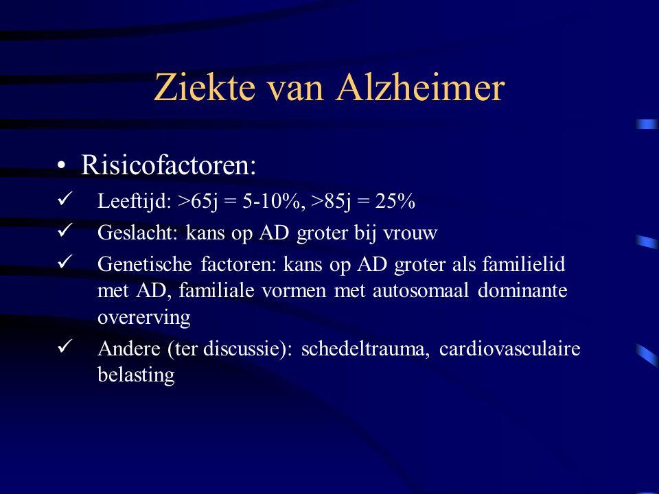 Ziekte van Alzheimer Risicofactoren: Leeftijd: >65j = 5-10%, >85j = 25% Geslacht: kans op AD groter bij vrouw Genetische factoren: kans op AD groter als familielid met AD, familiale vormen met autosomaal dominante overerving Andere (ter discussie): schedeltrauma, cardiovasculaire belasting