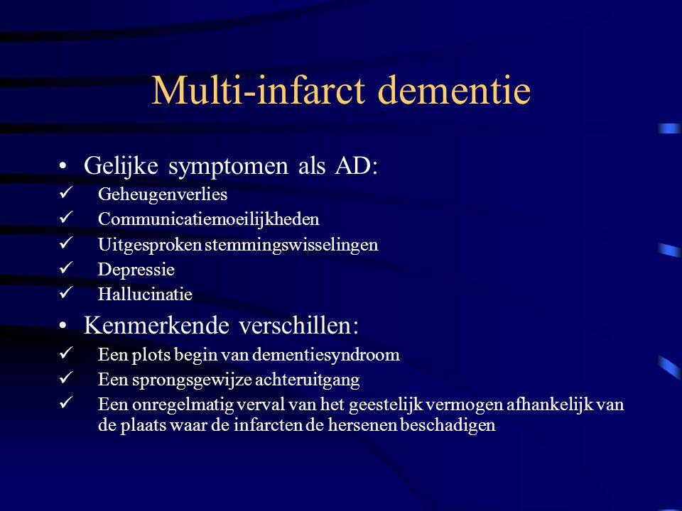 Multi-infarct dementie Gelijke symptomen als AD: Geheugenverlies Communicatiemoeilijkheden Uitgesproken stemmingswisselingen Depressie Hallucinatie Kenmerkende verschillen: Een plots begin van dementiesyndroom Een sprongsgewijze achteruitgang Een onregelmatig verval van het geestelijk vermogen afhankelijk van de plaats waar de infarcten de hersenen beschadigen