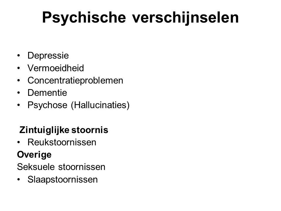 Psychische verschijnselen Depressie Vermoeidheid Concentratieproblemen Dementie Psychose (Hallucinaties) Zintuiglijke stoornis Reukstoornissen Overige Seksuele stoornissen Slaapstoornissen
