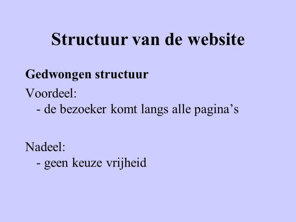 Structuur van de website Chaotische structuur Voordeel: - geen Nadeel: - bezoeker dwaalt rond door de website - bezoeker weet niet waar is (geweest)