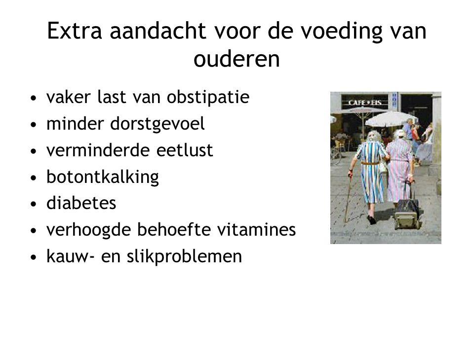Extra aandacht voor de voeding van ouderen vaker last van obstipatie minder dorstgevoel verminderde eetlust botontkalking diabetes verhoogde behoefte