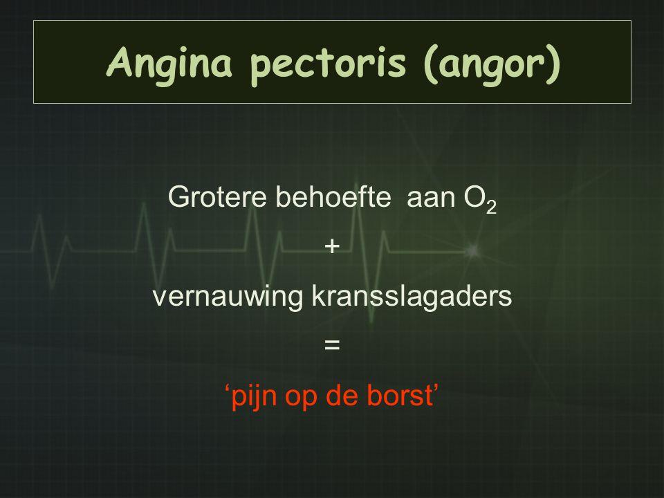 Angina pectoris (angor) Grotere behoefte aan O 2 + vernauwing kransslagaders = 'pijn op de borst'