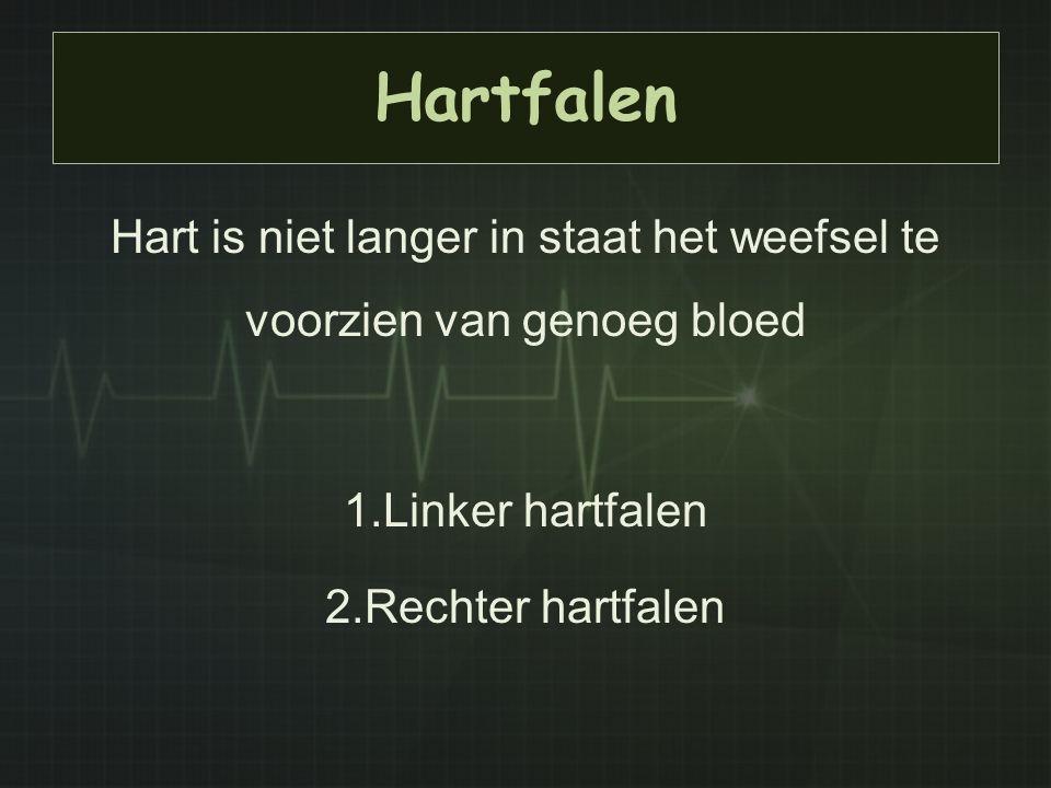 Hartfalen Hart is niet langer in staat het weefsel te voorzien van genoeg bloed 1.Linker hartfalen 2.Rechter hartfalen